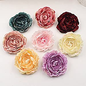 Fake Flower Heads in Bulk Wholesale for Crafts Silk Artificial Flowers 9cm Tree Peony Head Party Home Decor Wedding Decoration DIY Scrapbooking Handmade Craft Accessories Wreath 5pcs 37