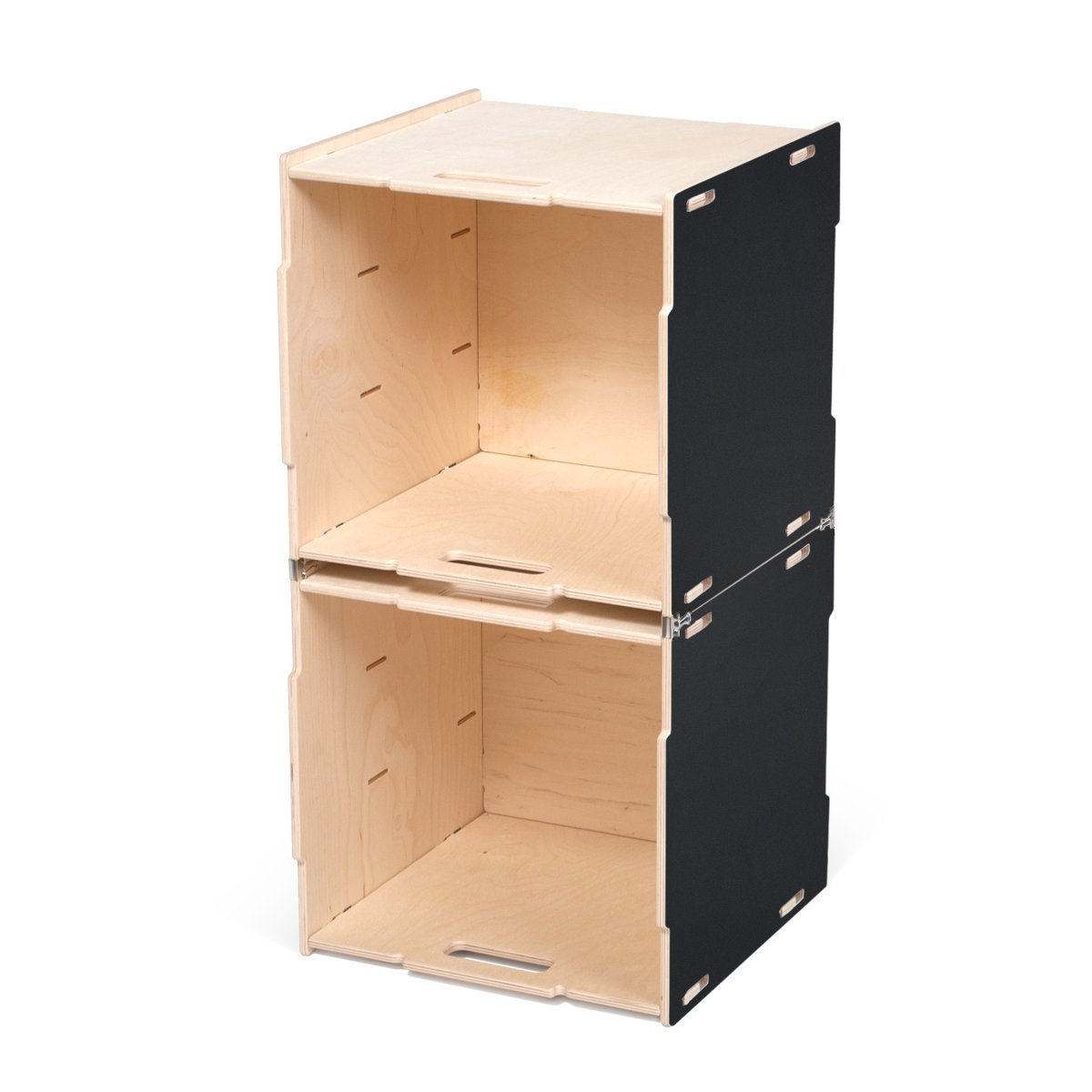 Stacking Crates Stacking Cubby (Two Crates) ブラック CR_2SC-BLK B06Y472XZN Stacking Cubby (Two Crates) Black Painted Baltic Birch Black Painted Baltic Birch Stacking Cubby (Two Crates)