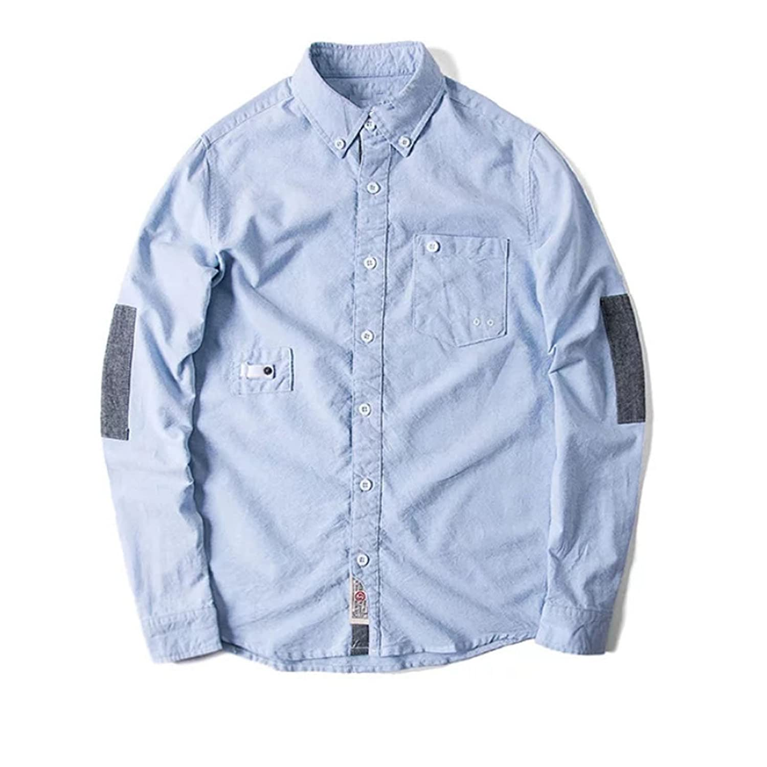 Spring Section Of Cotton Leisure Young People Fight Color Blue Men 's Shirts