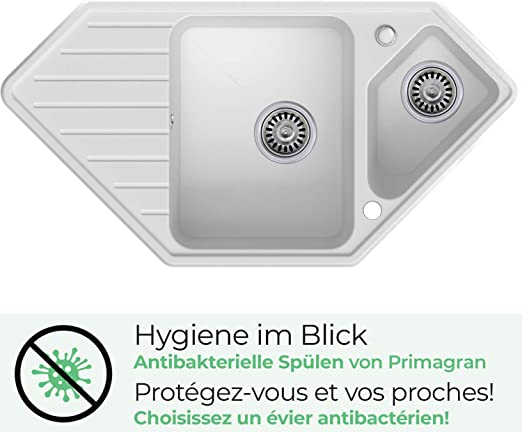 /Évier de Cuisine en Granit /à Encastrer Monaco 1,5 Bac avec un Petit /Égouttoir Noir et Antibact/érienPour les Meubles /à Partir 80cm Siphon Premium Automatique Gain de Place et Trop-Plein de Primagran