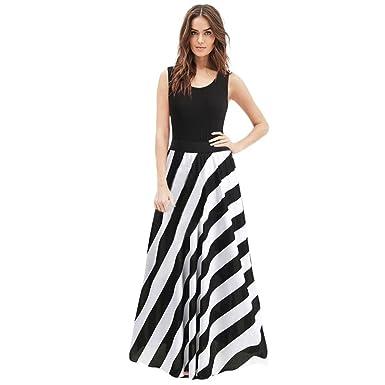 ccf5319ef2de9 Muranba Women s Summer Casual Vest Solid Stripe Cold Shoulder Long Dress ( Black