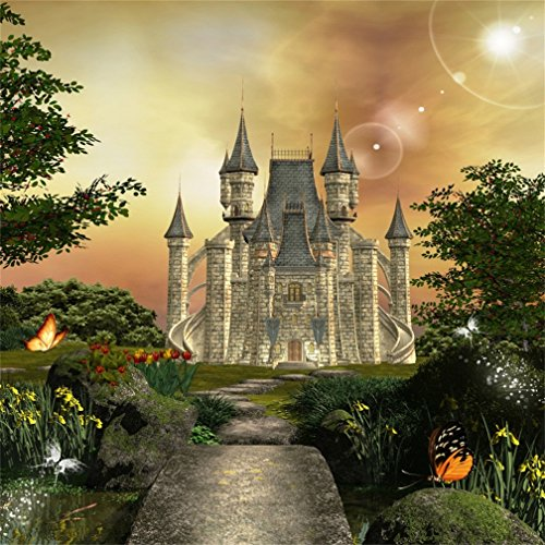 (CSFOTO 8x8ft Background for Dreamy Castle Photography Backdrop Fantasy Fairy Tale Prince Princess Forest Landscape Butterfly Wonderful Photo Studio Props Children Kid Portrait Wallpaper)