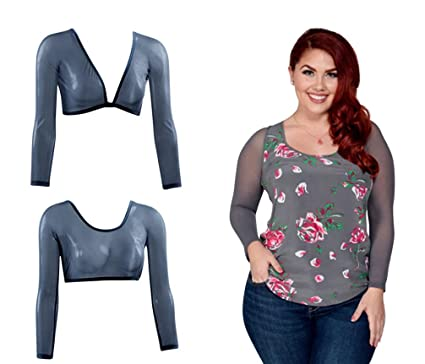 38bb1b68f0ea80 Sleevey Wonders Women s Gray Mesh Reversible Slip-on 3 4 Sleeves Shapewear  (1X