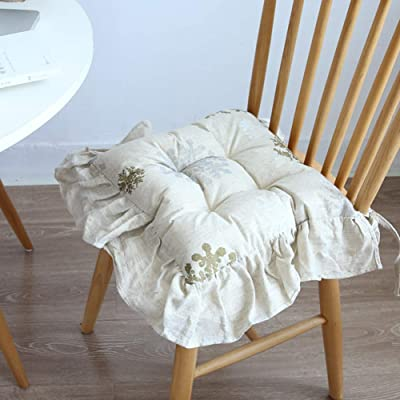 LUXDAMAI Patio Garden Seat Cushions with Ties Farmhouse Style,Ruffled Chair Pad,Cotton Thickened Chair Cushion B 55x43cm(22x17inch): Home & Kitchen