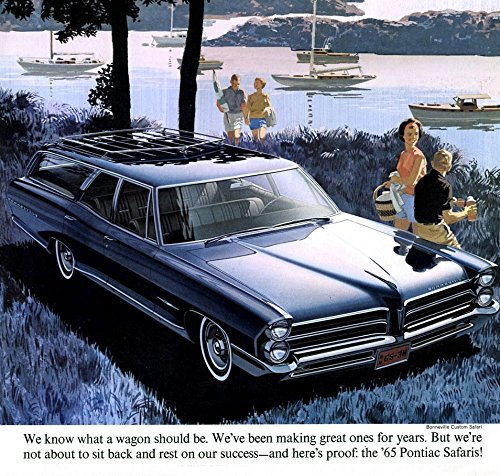 (1965 PONTIAC SAFARIS STATION WAGONS VINTAGE COLOR BROCHURE FOLDER - USA - EXCELLENT ORIGINAL)