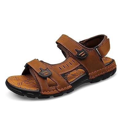 Einfach Sandaletten Herren Sommer Rundzehen Offenen Peep-Toe Entspannt Atmungsaktive Rutschfest Sandalen Schwarz 43 EU lwVNEtH