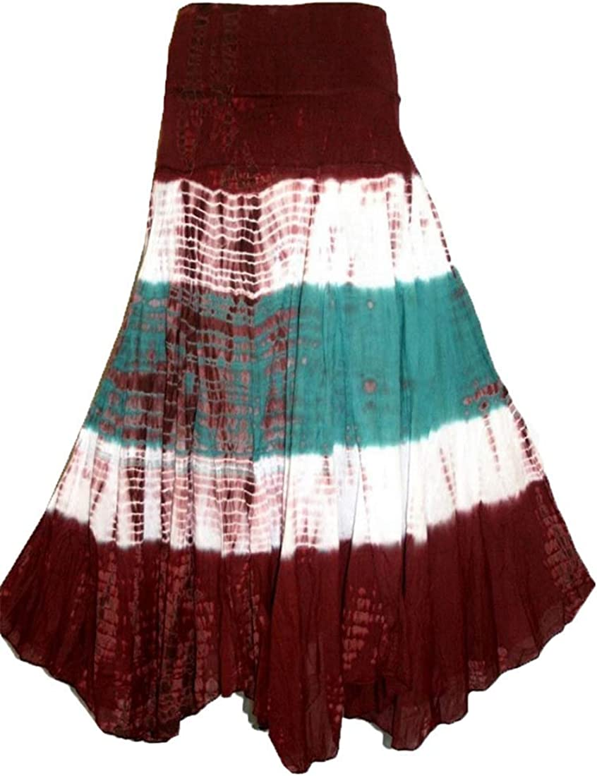 Agan Traders 61 SK Assorted Womens Flowing Bohemian Cotton Long Tie Dye Maxi Skirt