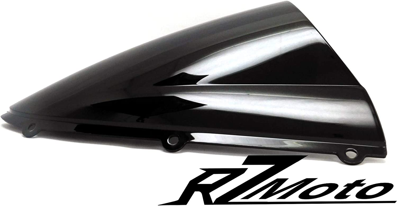 RZMoto ABS Plastic Injection Black Smoke Double Bubble Windscreen Windshield With 5mm Black Wellnut Bolt Kit for 1988-2007 Kawasaki Ninja 250R EX250F