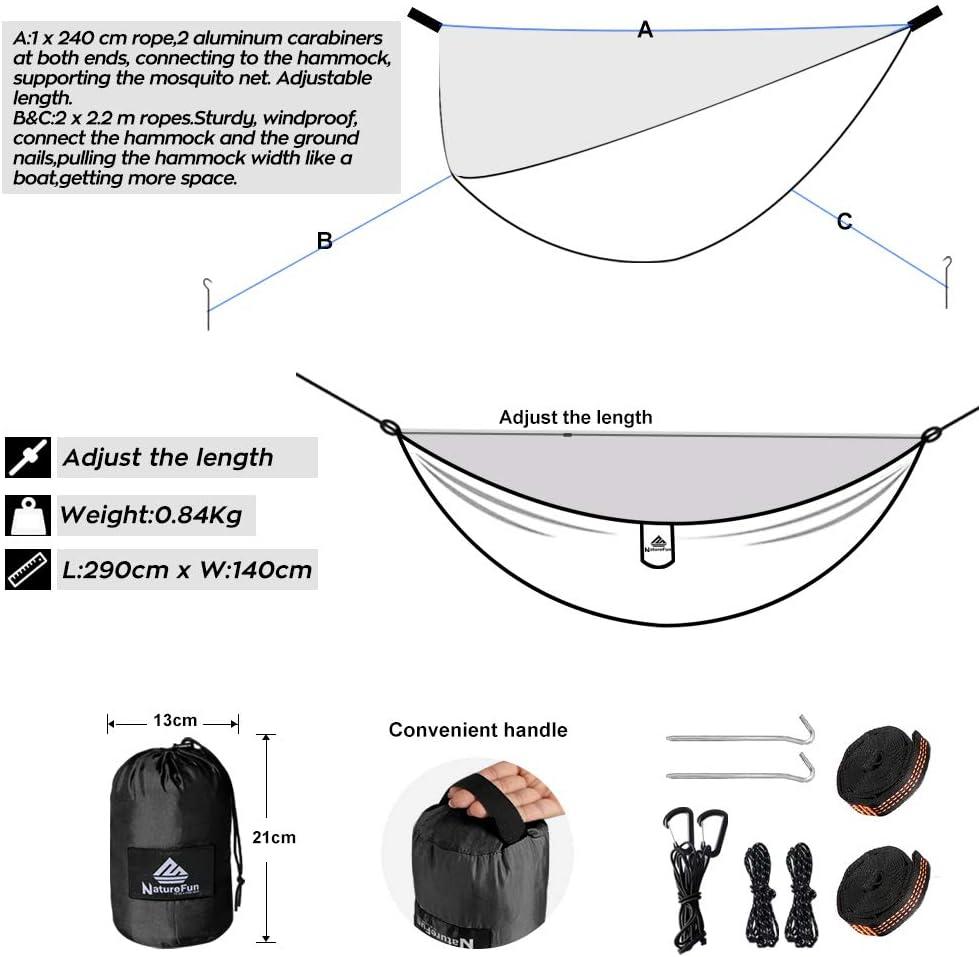 300 kg Capacit/é de Charge, Nylon /à Parachute /à s/échage Rapide |Accessoires complets 290 x 140 cm Faciles /à Installer Respirante NATUREFUN Hamac Ultra-l/éger de Voyage Camping