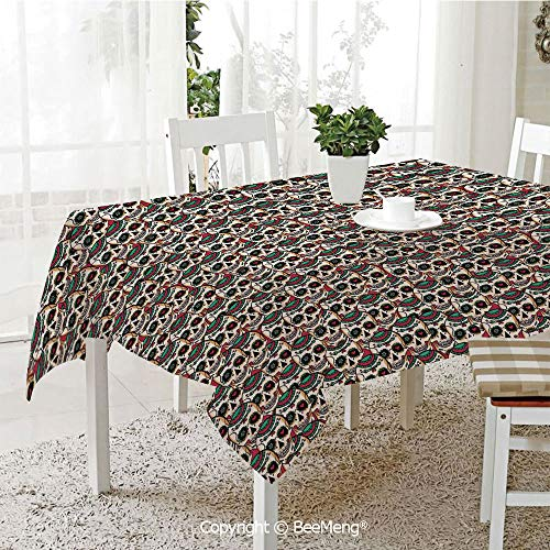 BeeMeng Large dustproof Waterproof Tablecloth,Family Table Decoration,Skulls Decorations,Creepy Head Bones with Paisley Floral Patterns Flowers Art,70 x 104 inches
