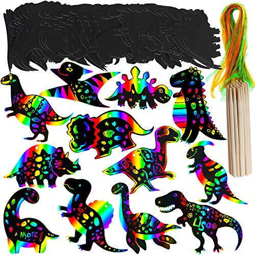Supla 36 Set Dinosaur Birthday Party Game Supplies Magic Color Scratch Art Rainbow Dinosaur Ornaments Dinosaur Craft Kits Dinosaur Party Favor for Kids Boys Girls Classroom -