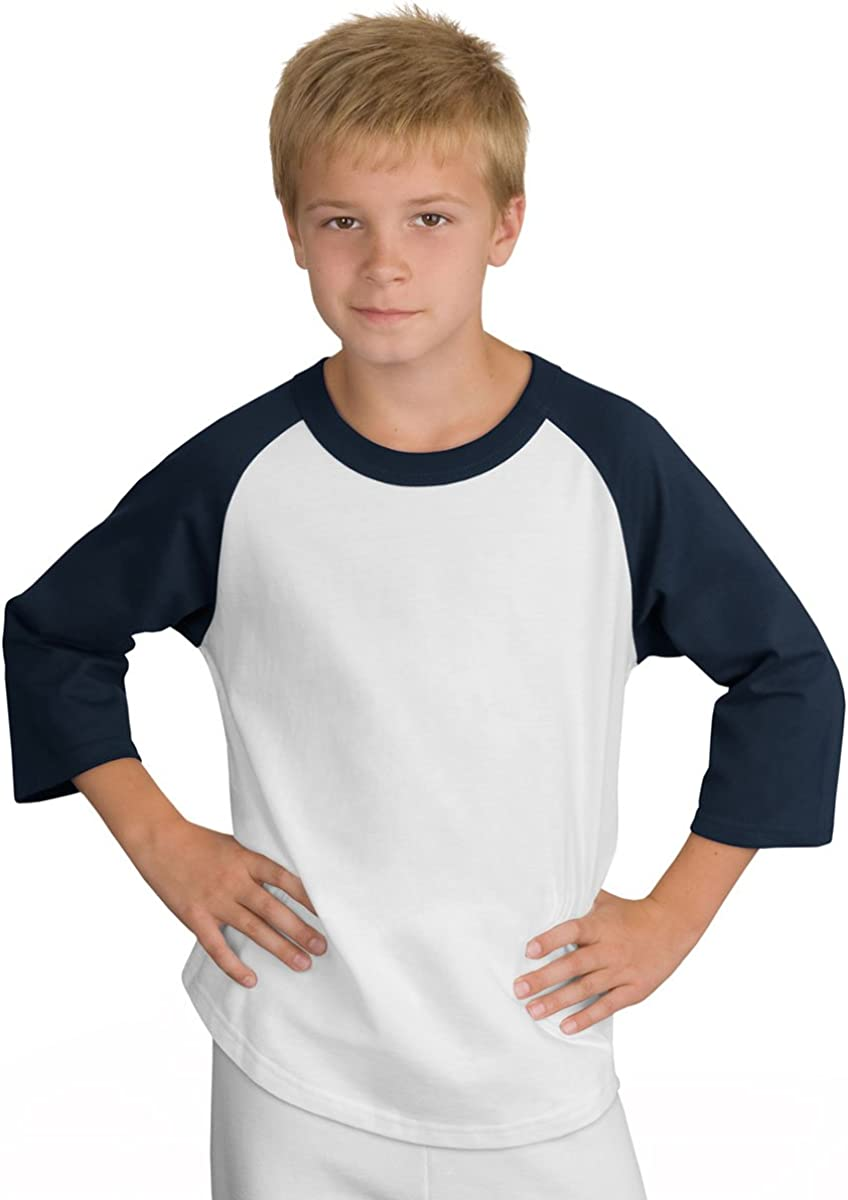 Sport-Tek Youth Colorblock Raglan Jersey S White//Navy