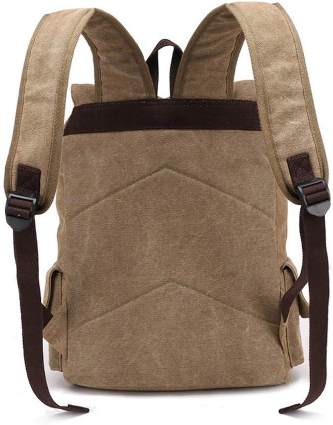 LHQ-Camera Bag Mens Durable Vintage Canvas Backpack School Laptop Bag Hiking Travel Rucksack Brown Camera Bag Color : Black