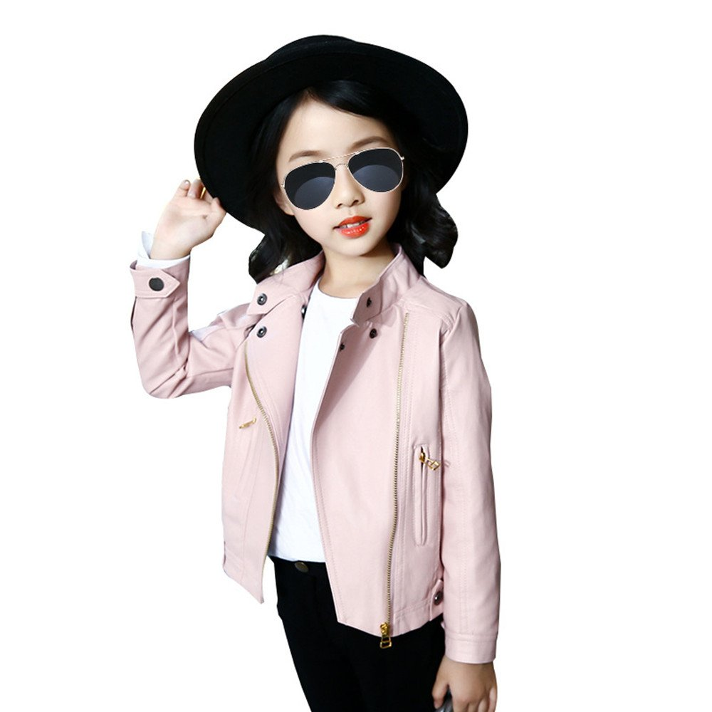 Girls Leather Bomber Jacket Motorcycle Cool Coat Outwear (12, Pink)