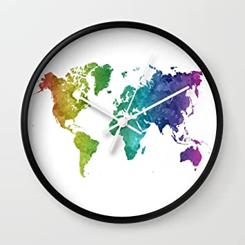Amazon society6 world map in watercolor rainbow wall clock society6 world map in watercolor rainbow wall clock black frame white hands gumiabroncs Choice Image