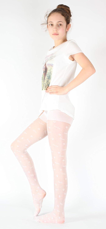 Giulia 20 Den wei/ße M/ädchen Strumpfhose mit Herz Herzchen Logo Print tattoo gemustert tights
