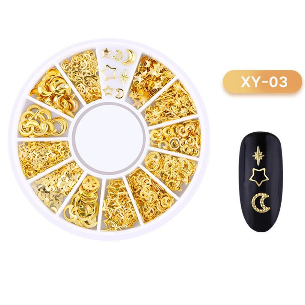 LiPing Ocean Nail Art Studs Gold Charms Summer Sea DIY Decoration Nail Art Sticker Tip Nail Sticker Sequins Colorful DIY Nail Art Decoration Tool (C)