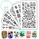 Ejiubas Nail Stamper Stamping Plates Nail Stamping Kit - 3pcs Double-sided Nail Stamp Plates & 1 pcs Clear Nail Polish Stamper Scraper