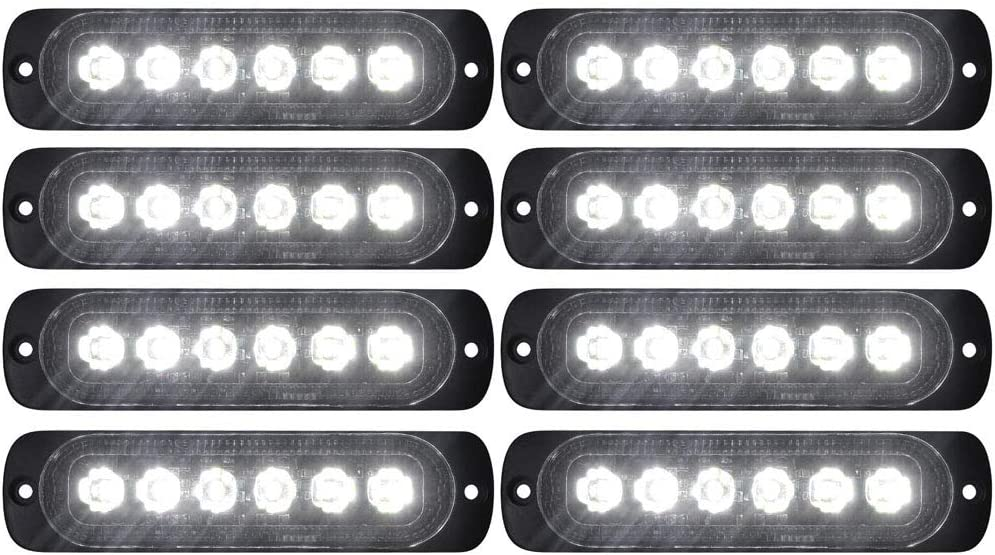 DIBMS 8x Amber White 6 LED Side Strobe Warning Hazard Flashing Emergency Caution Construction Light Bar for Car Off road vehicle ATVs truck engineering vehicles