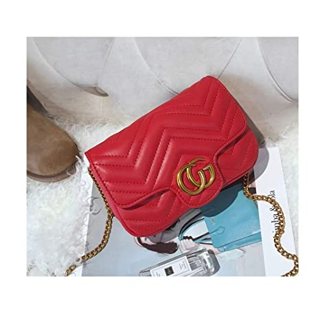7818d5c69a68 Amazon.com  CG Marment matelassé Leather Super Mini Bag Crossbody Purse  Flap Shoulder Bag Handbag Holder with Chain -red  Computers   Accessories