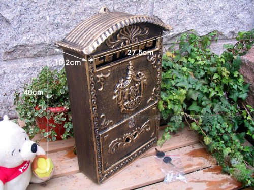 Victorian Style Wall Mounted Cast Iron Mailboxes Weight 12lb (Antique Bronze Aristocracy) by amoylimai