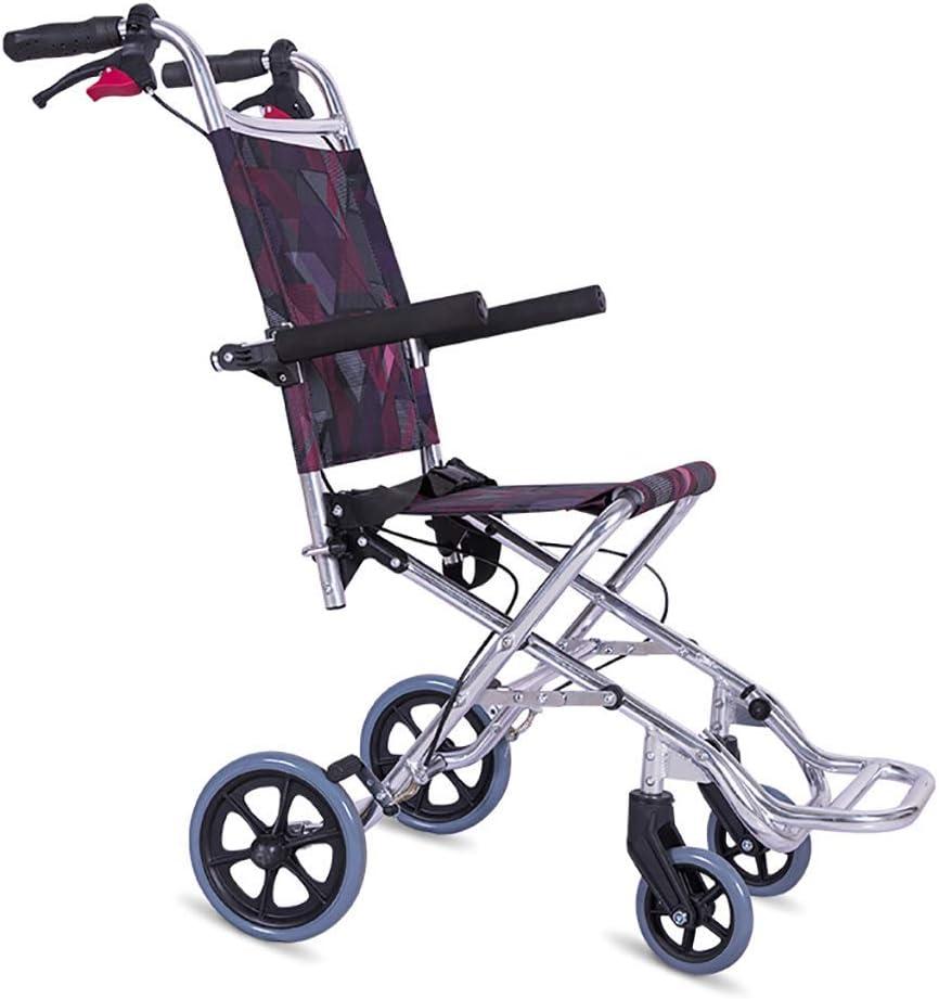 Lyl Silla de Ruedas Plegable de Aluminio, se Puede Llevar en el avión, Ligero Silla de Ruedas Manual Plegable con Pedales para niños, discapacitados, Ancianos