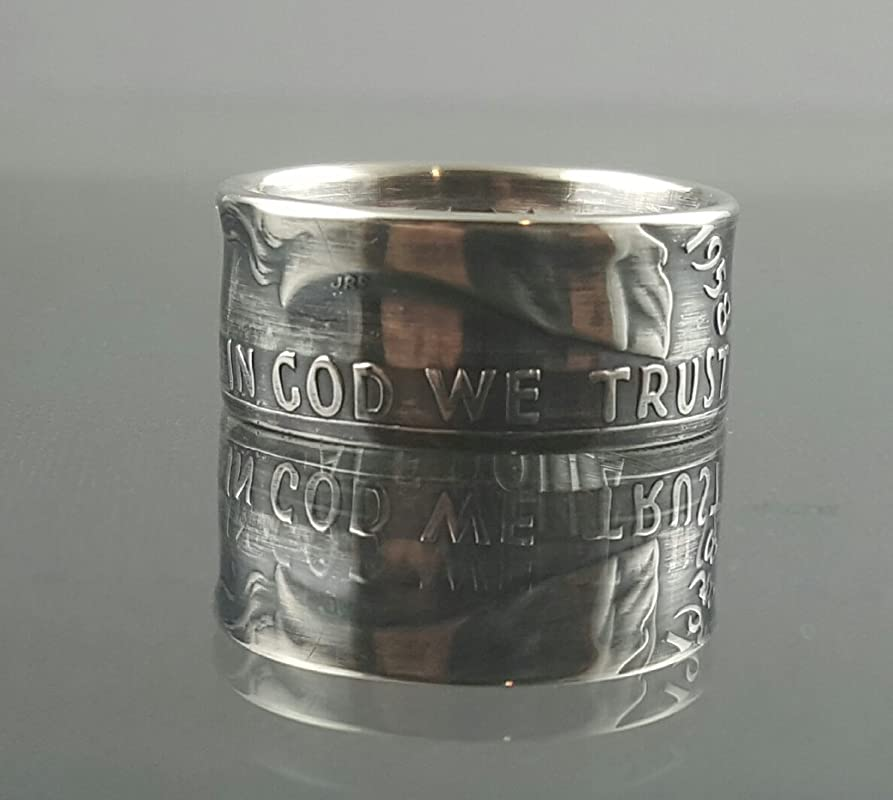 Size 9-12 Hand Hammered Antique Finish with 10 mm extra wide band Easy Care! Rugged Design 1964 Silver Kennedy Half Dollar Coin Ring