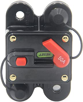 Boat Marine RV Auto 12V Manual Reset Electrical Circuit Breaker 50A 12V//24V