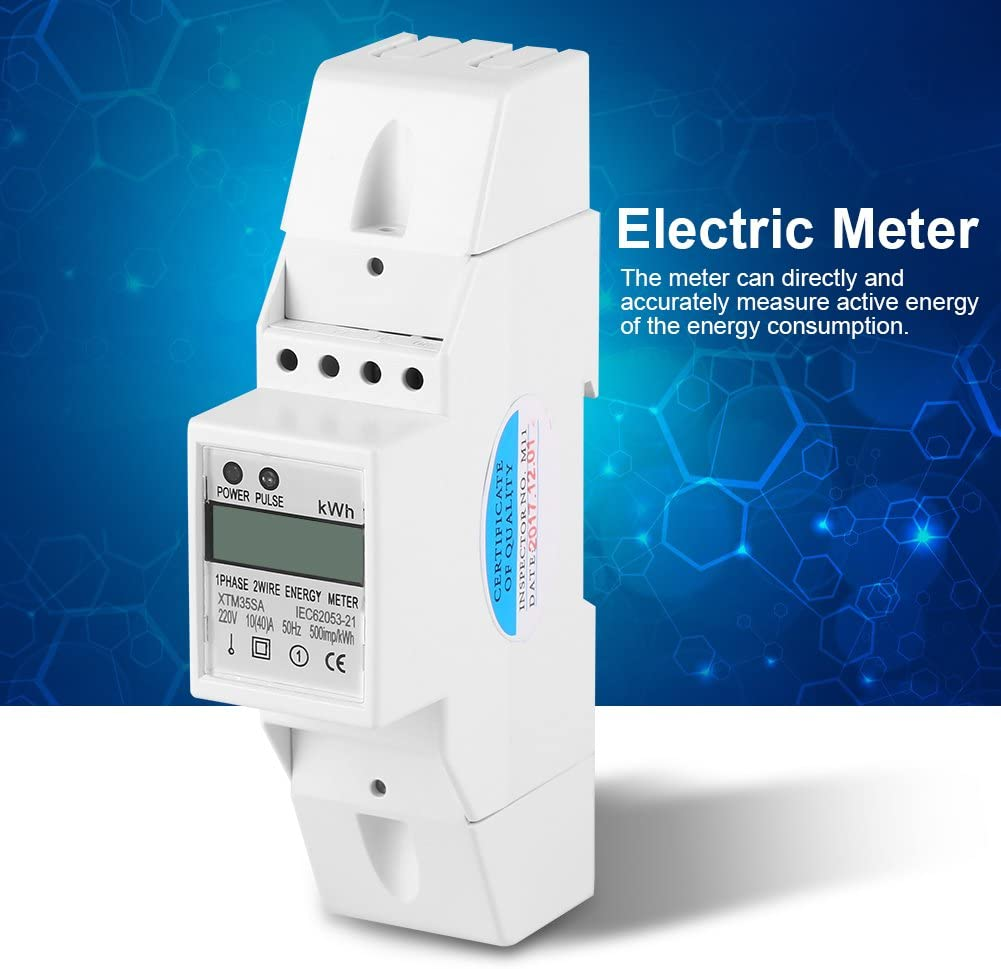 40 XTM35SA Energy Meter Digital LCD Single Phase 2 Wire KWh Meter DIN-Rail Electric Meter 10 A