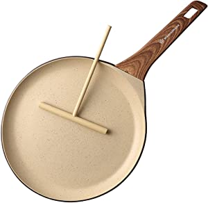 WaxonWare 11 inch Non-Stick Crepe Pan/Frying Skillet With Marbellous (A 100% PFOA Free German Coating) For Pizza, Tortillas, Pancakes, Omelettes & Crepes
