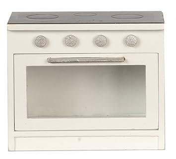 MELODY Jane CASA DE MUÑECAS NEGRO Y Blanco Cocina Estufa Moderna Miniatura Muebles de cocina