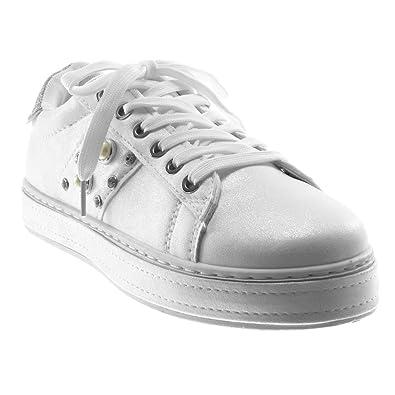 Angkorly - Damen Schuhe Sneaker Keilabsatz - Sporty chic - Tennis -  Plateauschuhe - Perle - 2c770efe16