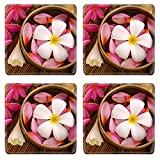 MSD Square Coasters Non-Slip Natural Rubber Desk Coasters design 20231386 Health spa retreat setting low with ambient Frangipani hot and cold stone on bamboo mat