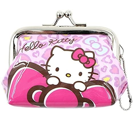 Genuine Bolso de Hello Kitty con Corchete - Estampado de Leopardo Rosa, Mujeres y niños