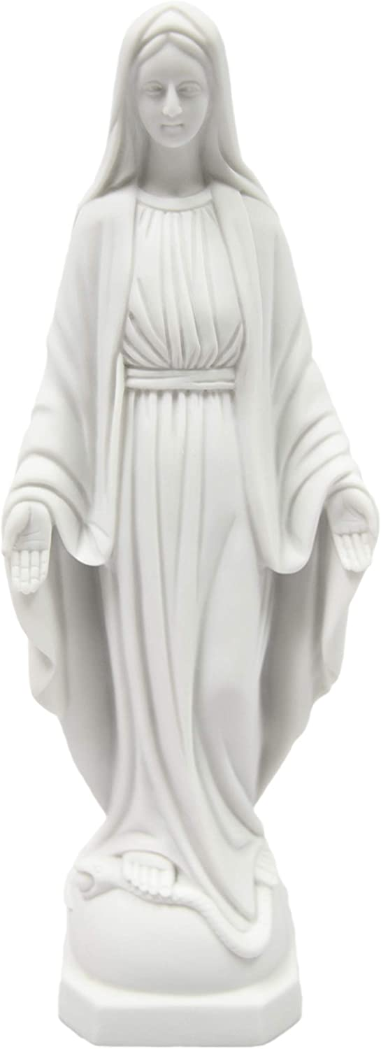 """12"""" Our Lady of Grace Virgin Mary Madonna Blessed Mother Religious Catholic Italian White Statue Sculpture Figurine Figure Made in Italy Indoor Outdoor Garden"""