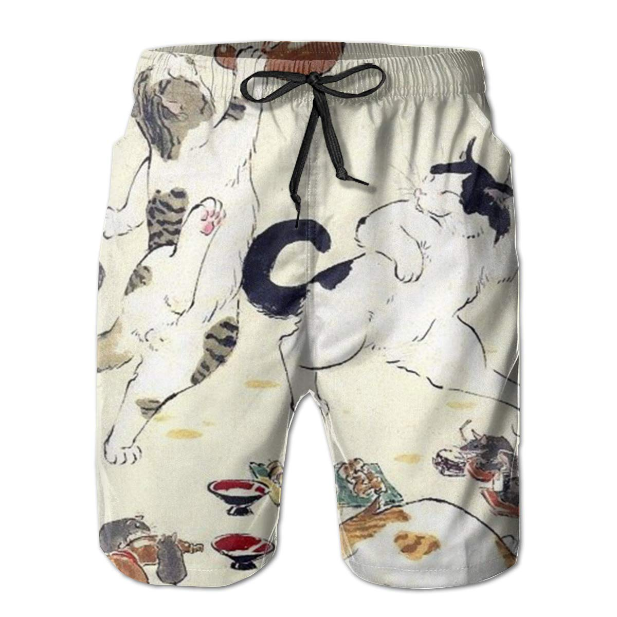 Mens Swim Trunks Lovely Playful Cat Quick Dry Beach Board Shorts with Mesh Lining