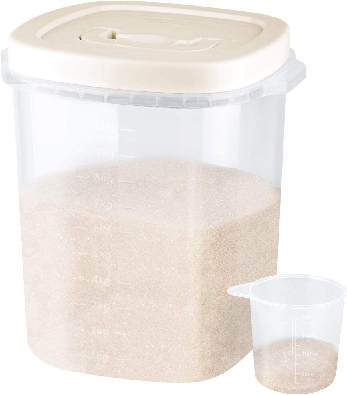 UPPETLY Large Airtight Food Storage Container Bin, 20-lb Dry Food Rice Container with Lid-Lock Handle and Measuring Cup. Cereal, Flour Dog Cat Pet Food Containers