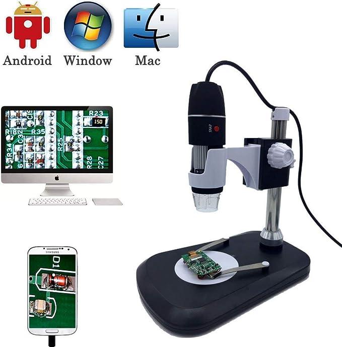 Cámara De Microscopio Digital USB, Jiusion 40-1000X Endoscopio De Aumento Portátil 8pcs LED Con Adaptador Soporte Profesional, Compatible Con Mac Window XP 7 8 10 OTG Android: Amazon.es: Electrónica