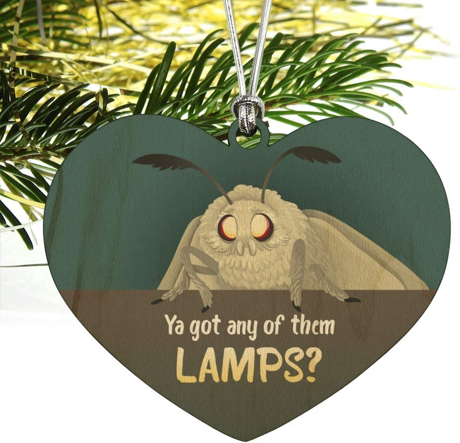 Moth Lamp Meme Wood Christmas Tree Holiday Ornament