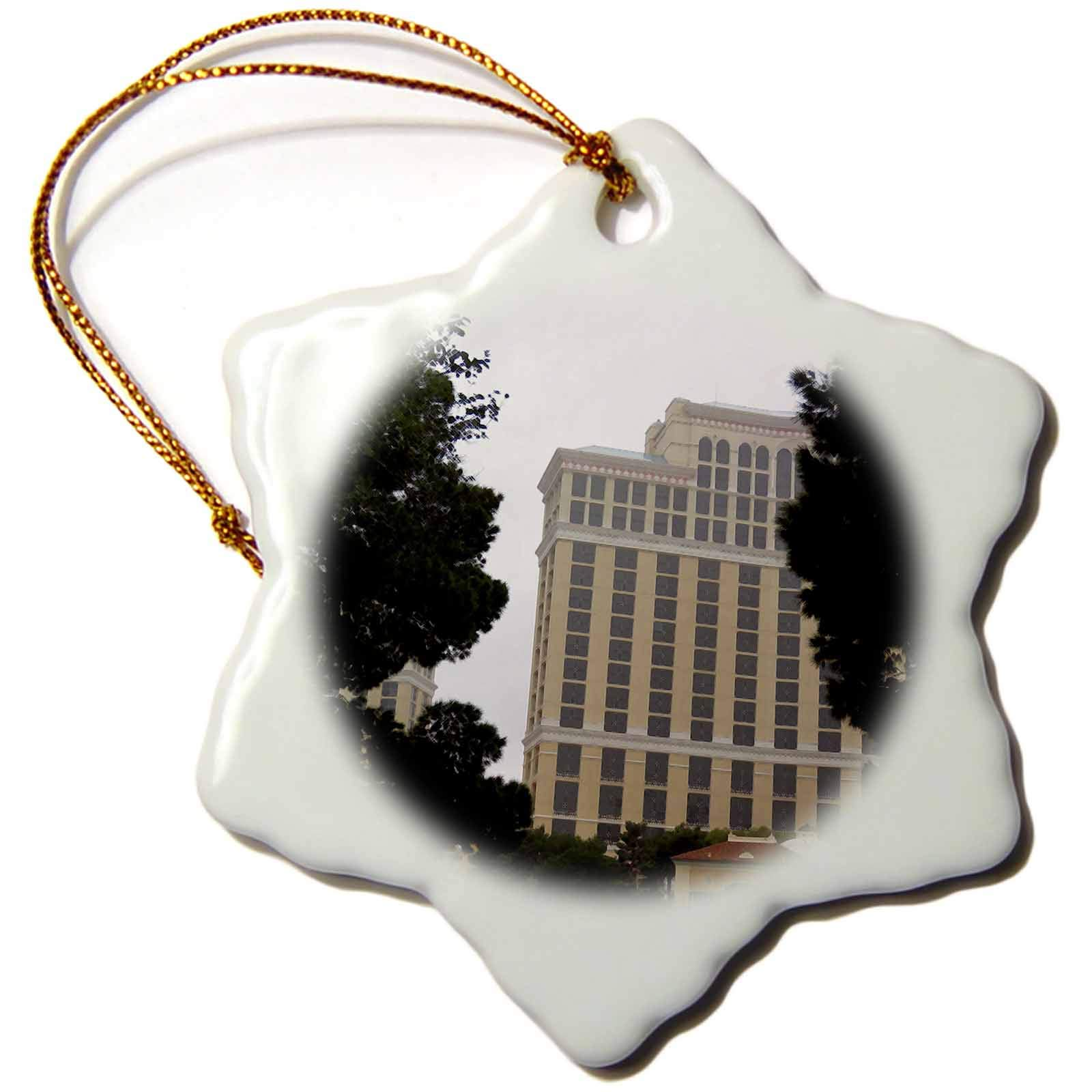 3dRose Jos Fauxtographee- Vegas Hotal with Trees - A Vegas Hotel That has Been Digitally Dry Brushed with Trees - 3 inch Snowflake Porcelain Ornament (ORN_291087_1)