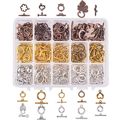 PH PandaHall 112 Sets 14 Style Tibetan Style Alloy Toggle T-Bar Clasps Findings Jewelry Making, Antique Bronze & Silver & Golden(Star, Heart, Leaf, Lock)