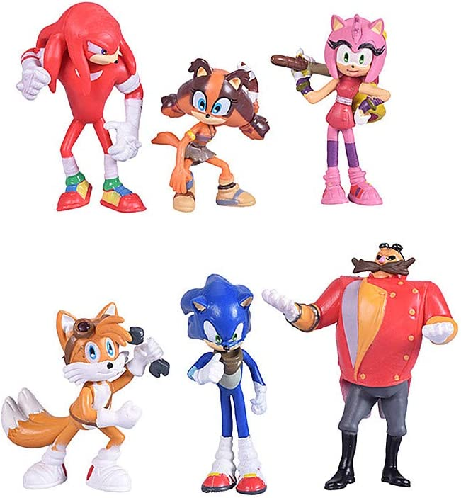 Amazon Com Max Fun Set Of 6pcs Sonic The Hedgehog Action Figures 5 7cm Tall Cake Toppers Collect Sonic Knuckles Tails Amy And Evil Dr Eggman Toys Games