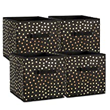 """DII Foldable Small Dots Fabric Storage Containers for Cube Organizers, Toys, Cloths or Knick Knacks (Set of 4), 11 x 11 x 11"""", Gold/Black"""
