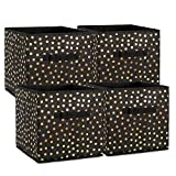 DII Fabric Storage Bins for Nursery, Offices, Home Organization, Containers are Made to Fit Standard Cube Organizers (11x11x11) Black with Gold Dots - Set of 4