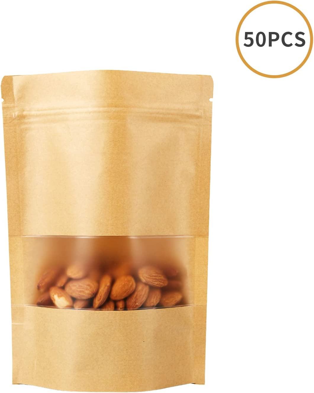 """Stand Up Pouch Bags, 50 Pack Kraft Pouch with Tear Notch and Matte Window, Heat sealable Zip Lock Food Storage Bag (3.5"""" X 5.5"""")"""