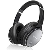 Bluetooth Wireless Kopfhörer Noise Cancelling - Hiearcool L1 HiFi Stereo Drahtlose Headset Over Ear mit Mikro Lautstärkeregler für alle Geräte mit Bluetooth oder 3,5 mm Klinkenstecker (schwarz L1)