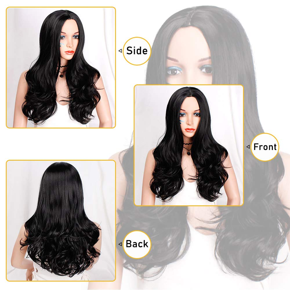 Amazon.com: Black Wavy Wig for Women Long Middle Part Wigs Natural Wig for Daily Use Heat Resistant Fiber Party Wigs: Beauty