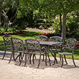 Augusta | 7 Piece Cast Aluminum Outdoor Dining Set | Perfect for Patio | in Shiny Copper