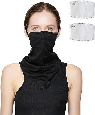 Balaclava With Filter Face Cover Tube Scarf Neck Gaiter Bandana Ear Loops Unisex