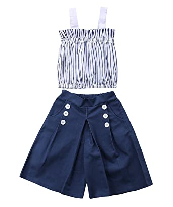 b7aeafe8d4582 Amazon.com: Greenafter Toddler Kids Baby Girl Stripes Off-Shouler Tube Top  + Pants Outfit Set: Clothing